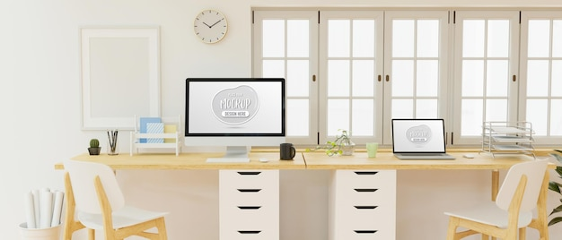 Office working space interior design with computer mockup screen