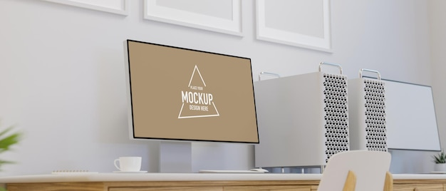 Office workspace with computer devices with mock-up screen on the desk, 3d rendering, 3d illustration