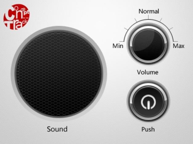 스피커 그리드 옆에있는 offon 버튼 및 볼륨 휠