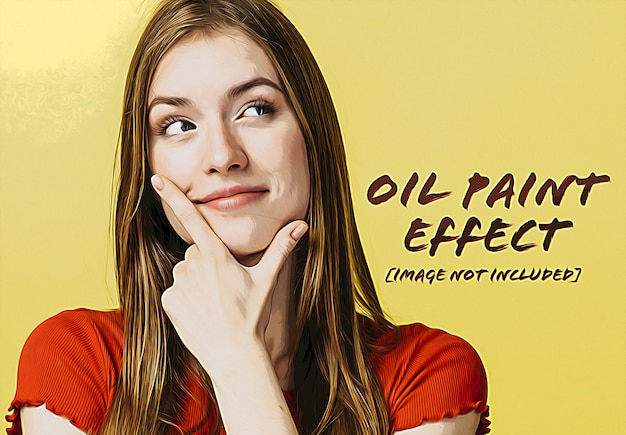 Oil paint photo effect mockup