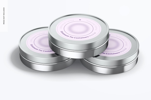 Ointment tin containers mockup