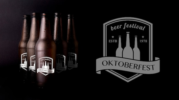 Oktober fest mock-up beer with black background
