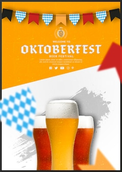Oktoberfest beer glasses with flat design