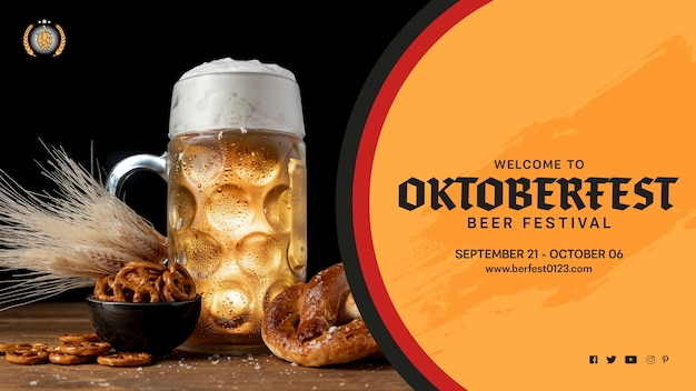 Oktoberfest beer mug with pretzels