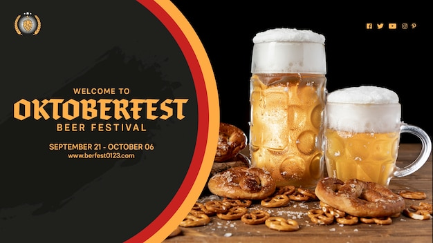 Oktoberfest beer mugs with pretzels on table
