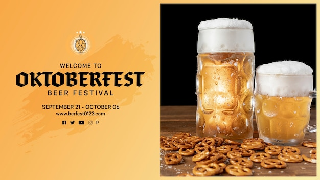 Oktoberfest beer mugs with pretzels on a table