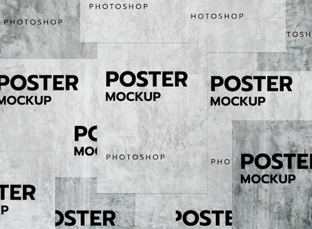 Old collage poster wall mockup realistic