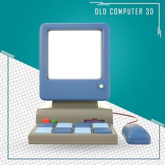 Старая компьютерная мышь и клавиатура с белым экраном