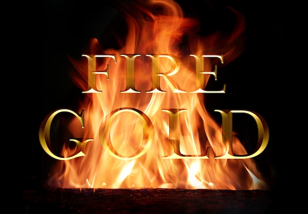 Old gold text effect burning in fire