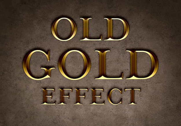 Old gold text effect template