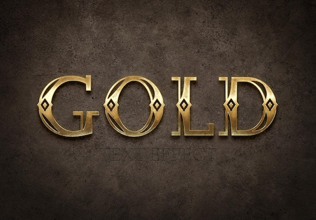 Old gold text style with 3d glossy effect