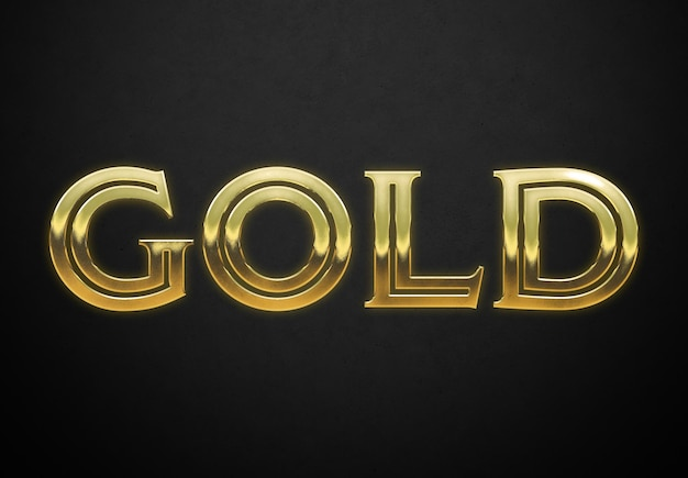 Old gold text style with ingot glossy effect