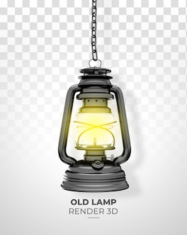 Old lamp realistic 3d render