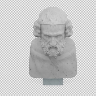 Old man statue 3d isolated render