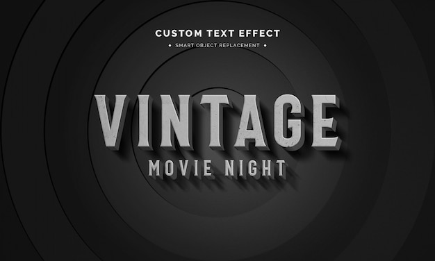 Old movie 3d text style effect