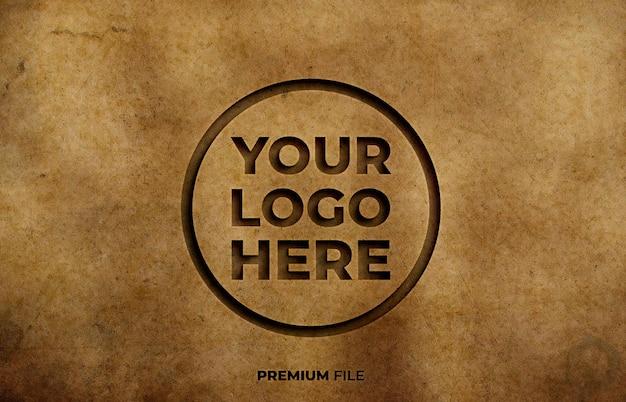 Old paper engraving effect logo mockup