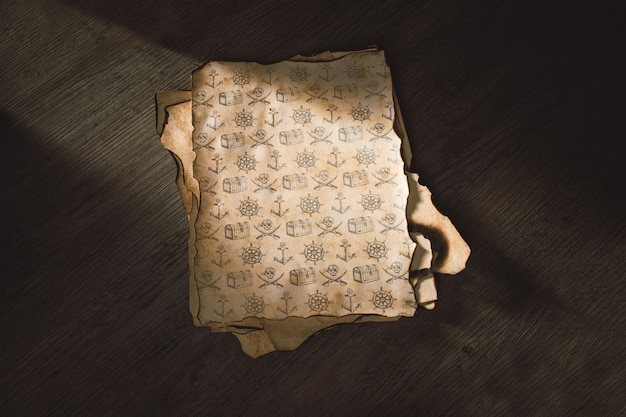 Vecchio mockup di carta per il concetto di avventura