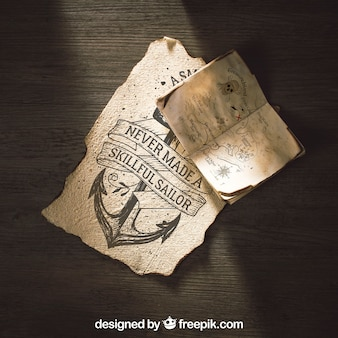 Old paper mockup with sailing and adventure concept