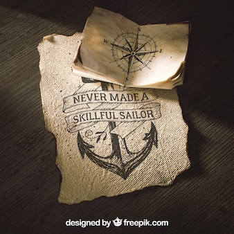Old paper mockup with sailing concept