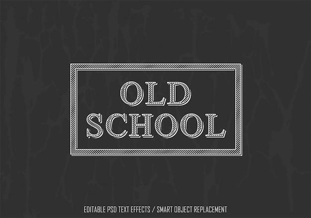 Старый школьный белый редактируемый текстовый эффект