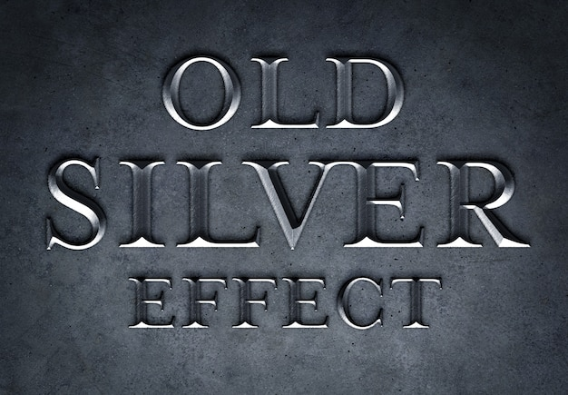 Old silver text effect mockup