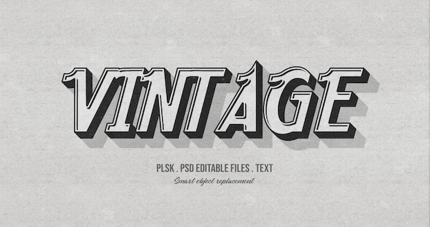 Old vintage 3d text style effect mockup