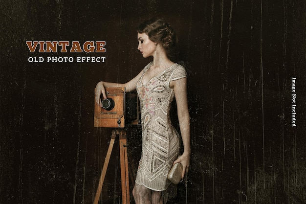 Старый старинный шаблон фотоэффекта