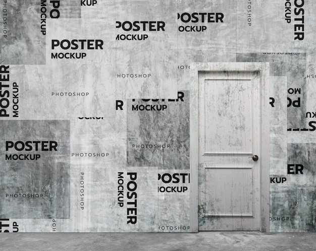 Old wall collage poster mockup realistic