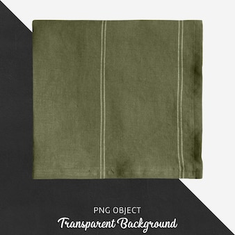 Olive green linen handkerchief on transparent background