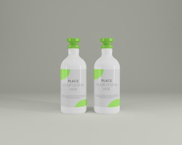 3dレンダリングでオリーブオイルボトルのモックアップデザイン