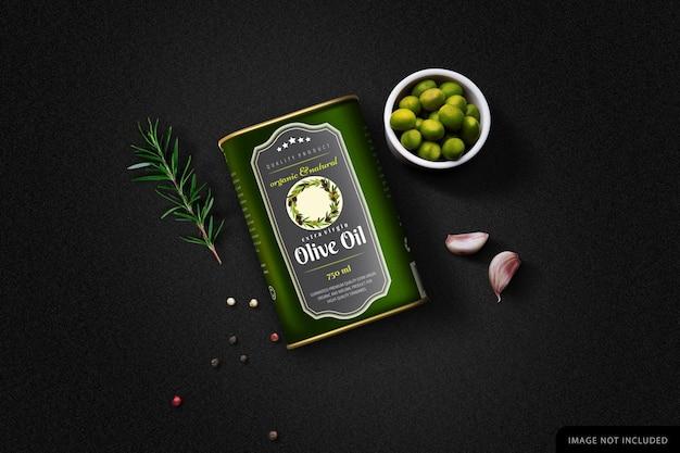 Olive oil can mockup in black background