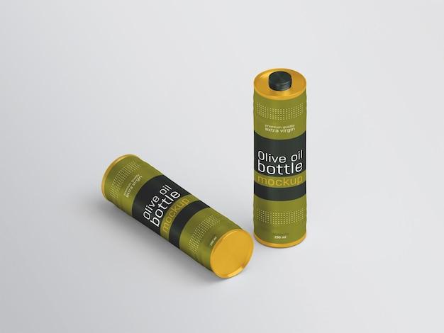 Olive oil metal bottle mockup