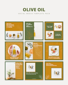 Olive oil social media template pack