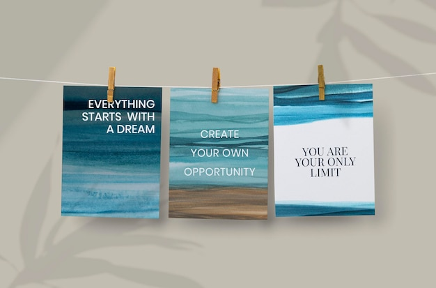 Ombre watercolor poster mockup psd on the wall