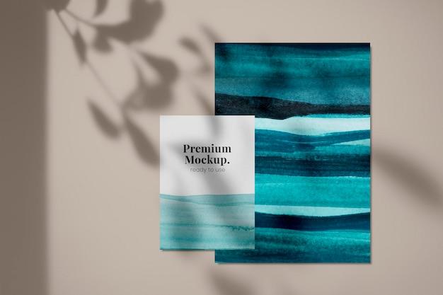 オンブル水彩psdカードモックアップ深い青色の海