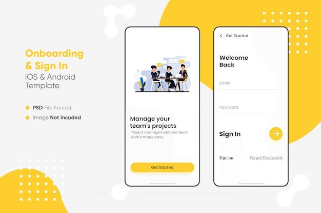 Onboarding & sign in app ui