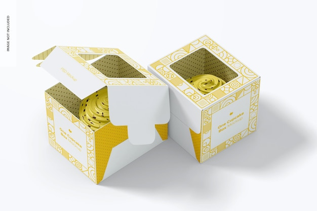 1つのカップケーキボックスのモックアップ、開閉