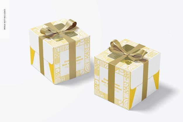 Одна коробка для кексов с мокапом с лентой