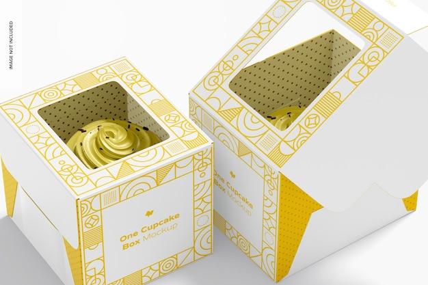 One cupcake boxes mockup, close up