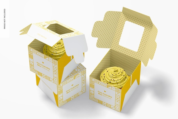 1つのカップケーキボックスのモックアップが開かれました