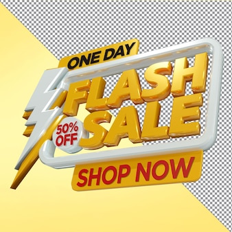 One day flash sale promotion 3d rendering
