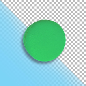 One green french macaron top view isolated on transparent background.