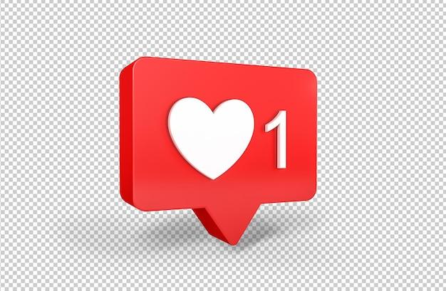 Одно как уведомление в социальных сетях с 3d-рендерингом значка сердца