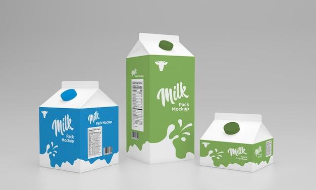 Макет дизайна упаковки упаковки для молока объемом 0,5 литра и 250 мл