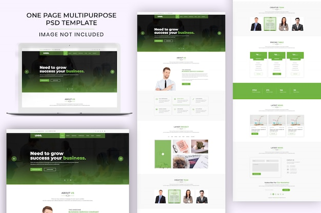 One page multipurpose psd template