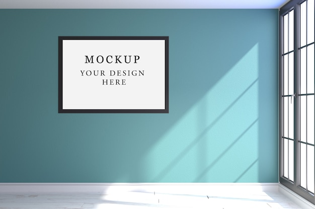 One poster mockup with blue background