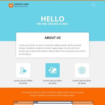 Oneページオンラインクリニックのウェブサイトのデザインpsd