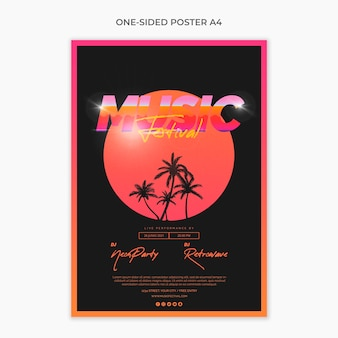 One sided a4 poster template for 80s music festival