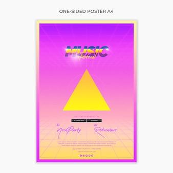 Односторонний шаблон постера формата а4 для музыкального фестиваля 80-х годов