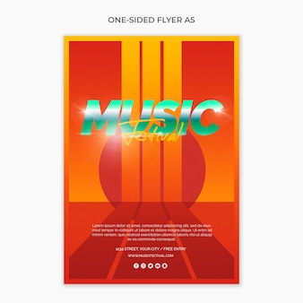 One sided a5 flyer for 80s music festival